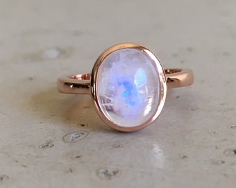 Rose Gold Moonstone Ring- Oval Cabochon Moonstone Ring- Stackable Moonstone Ring- June Birthstone Ring- Sterling Silver Moonstone Ring