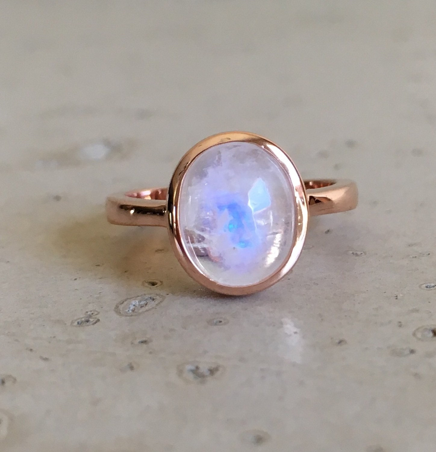 Rose Gold Moonstone Ring Oval Cabochon Moonstone Ring