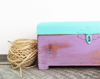 Rustic Handpainted Box - Turquoise and Purple - Tea Box - Modern Vintage Chic