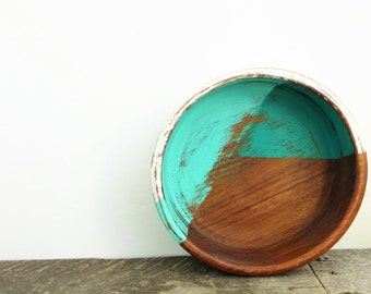 Turquoise and White Bowl - Rustic Modern Decor - Handpainted - Key Bowl