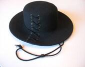 Vintage Wool Hat - Womens Fedora Wide Brim with Lacing
