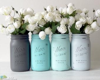 Dorm Decor / Painted Mason Jars / Aqua Turquoise Grey / Vase / Set of 4 Quarts / Centerpiece