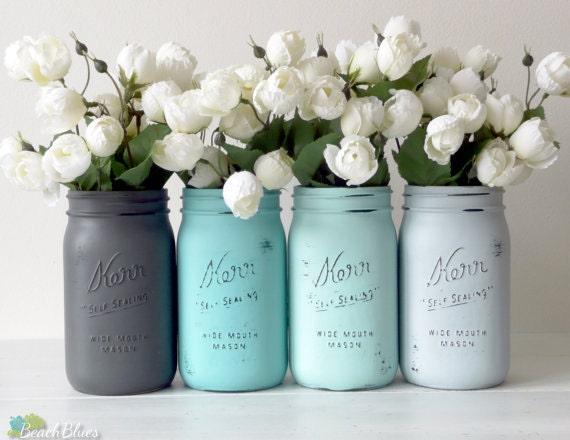 Dorm Decor - Aqua Grey Home Decor Painted Mason Jars Pencil Holder