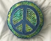 Peace sign pillow in greens, blue, lime, batik and distressed denim boho round pillow