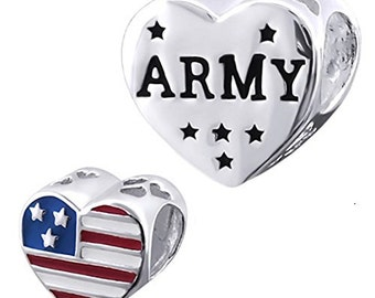 ARMY Charm Bead 925 Sterling Silver Fits  All European Charm Bracelets