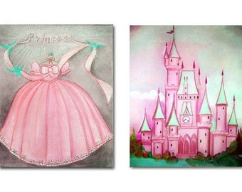 Princess kids Wall Art SET 2 Prints for Baby Girl Nursery Decor, Girls room Decor, Pink, Nursery Prints, Princess Dress Art, Castle Wall Art