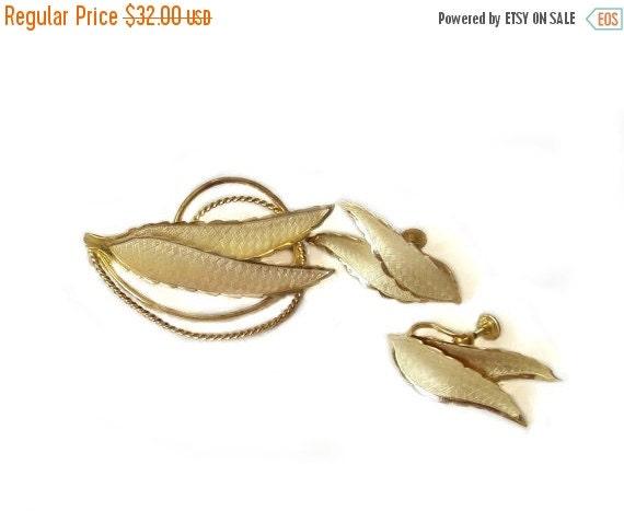 Gold Vermeil Sterling Silver Leaf Brooch Earrings Bond Boyd Sterling