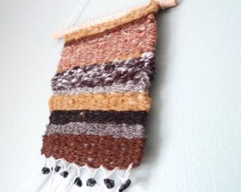 wall hanging, weaving, mini weaving, woven art, handspun wool, geology inspired, eco friendly art, nursery decor, boho art,