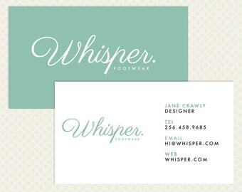 Mint Business Card Design Modern Minimal Chic Elegant Branding Modern Branding Cursive Business Card Design Calligraphy White Turquoise