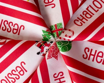 Personalised Name Fabric - Christmas Candy Cane Stripe 2 Yards