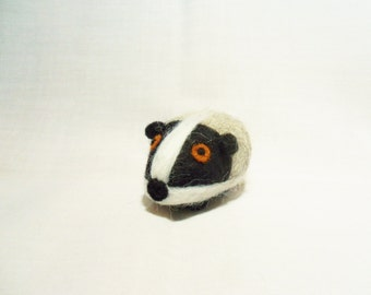 Needle Felted Badger -  miniature badger figure - 100% Shetland & Merino wool - wool felt badger - pocket badger - badger ornament
