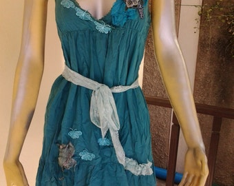 Cotton mini dress/top forest green with butterflies & rose decals...side ties.. suit medium to 36""