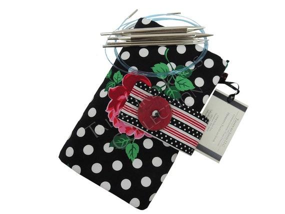 Knitting Organizer Michaels : Black floral polka dot interchangeable knitting needle case