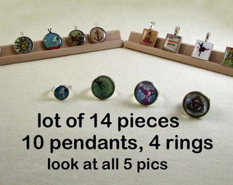 Lot of 10 Pendants 4 Rings Jewelry - Scrabble - Charms - 20mm Pendants - Closeout Sale - Snoopy - Marilyn - Tree of Life Penny - Deal of Day