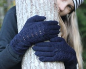 Navy blue, Hand Knitted Gloves, navy blue Elegant Arm Warmers Gloves With Fingers, For Her, Gift Ideas, Winter Accessories, Christmas gift