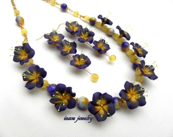 Purple, Floral Jewelry, Purple Jewelry, Statement Necklace, Flower Earrings, Spring Jewelry, Purple Flowers, Gift For Her, Polymer Jewelry
