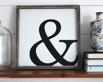 Ampersand Rustic Wood Sign, Housewarming Gift, Contemporary, Country Decor, Farmhouse Decor