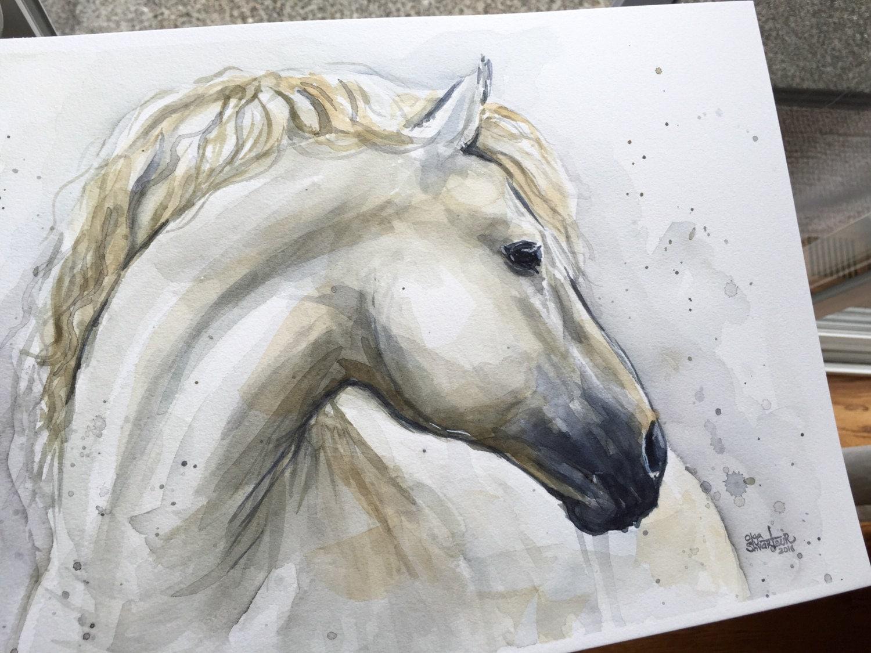 White Horse Watercolor Painting Original Artwork Watercolor