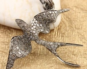 Pave Diamond Designer Dove Pendant / Pavé Diamond Pendant / Designer Supplies / Pave Diamond Dove pendant ,(DCH/CR281)