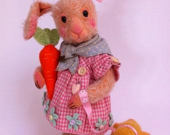 Cupcakebears Lilly bunny, kunstenaar beren mohair beren, mohair bunny, naald vilten bunny, verzamelaars bunny,