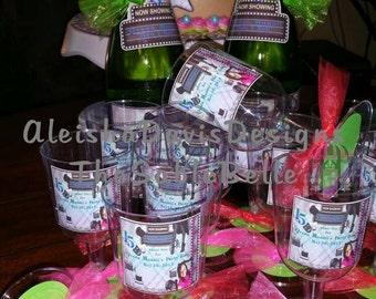 Beverage Bottle Labels and Embellished Plastic Cups