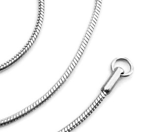 Stainless Steel Necklace Chain, Silver Snake Chain, 2mm Smooth Round, High Quality Non Tarnish Jewelry for Sensitive Skin (16-20 Inch)