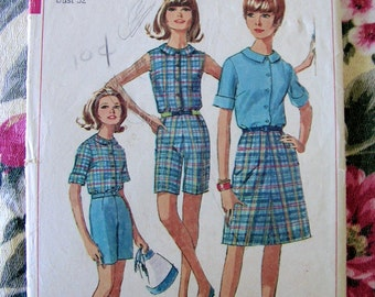 Blouse and Bermuda Shorts Misses 12 bust 32 skirt not included 6504 vintage 1960s sewing pattern