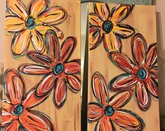 Set of 12x24 flower paintings