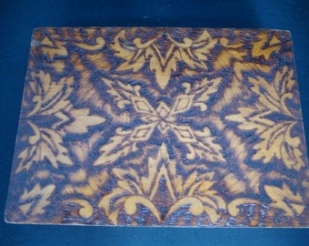 REDUCED! Intricate pyro-carved leaf motif German cigar box