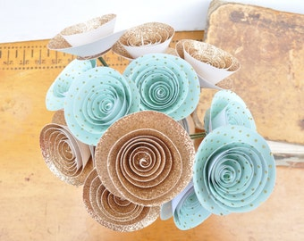 Paper Flower Bouquet, Rose Gold Glitter Paper teal and gold paper flowers