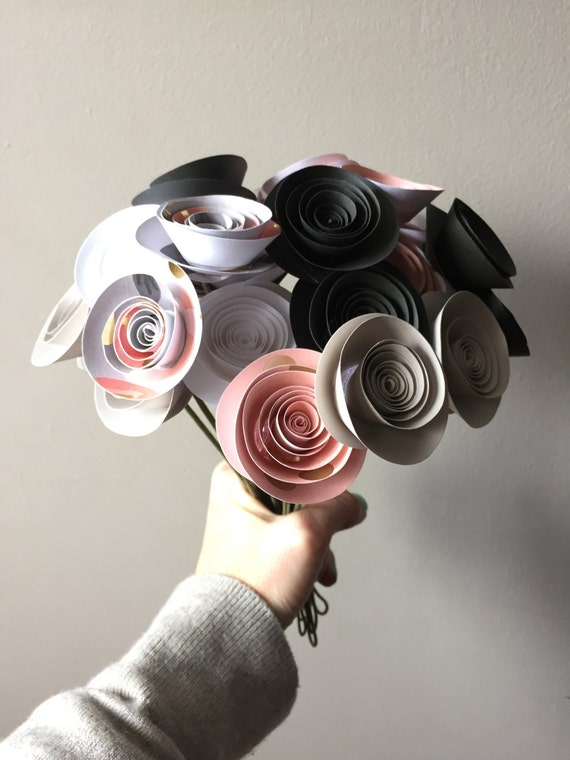 Pink and gray paper flower bouquet nursery decor paper flowers
