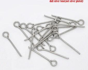 100 Pieces Antique Silver Eye Pins, 18mm x 7mm (21 Gauge)