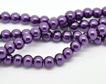 """Dark Purple Glass Pearl Round Beads 8mm, 1 32"""" strand of 105-110 beads"""