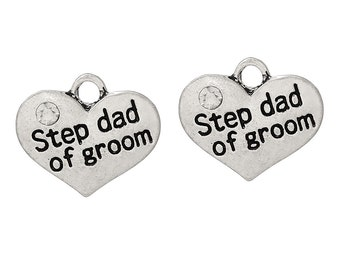 """2 Pieces Antique Silver Rhinestone """"Step Dad Of Groom"""" Wedding Heart Charms"""