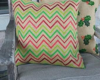 Natural, Green & Red Christmas Chevron Print Burlap Pillow Cover