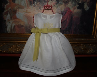 Baby and Toddler Girl White Linen Dress with Hemstitching Monogrammed Easter, or Christening Dress