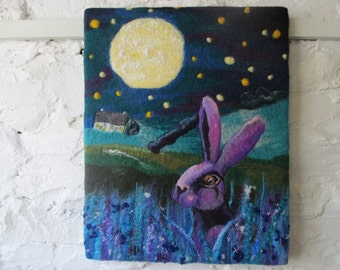 wet felted art, hare by moonlight, fibre art, textile art, 20 x 16 canvas