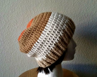 CLEARANCE Crochet Slouchy Color Block Beanie -Womens Slouchy Hat - Hipster Hat - Winter Beanie
