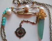 Aque Aura Crystal, Freshwater Pearl and Compass Charm BOHO Necklace, BOHO Gypsy Glam Charm Crystal Necklace