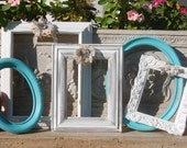 Picture Frame Set - Distressed Shabby Chic Frame Set - Frame Collage