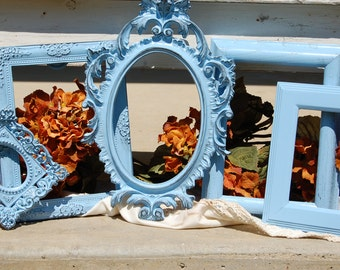 Nursery Baby Blue Vintage Collection / Shabby Chic Gallery Ornate Picture Frame Set