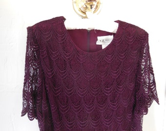 90s Formal Burgundy Crochet Top