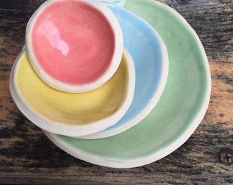 Nesting Prep Saucer Set, Stoneware Ceramic Potter