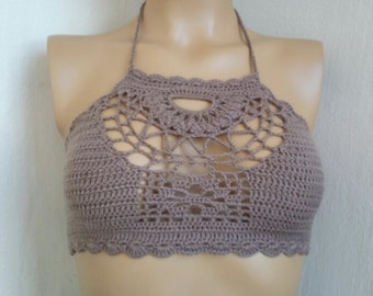 Brown Triangle Design Crochet Halter Top,sexy halter top,festival, halter top, sexy,brown,teal color,festival top,tank top,Bandeau Top