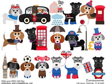 UK dogs Digital clip art for Personal and Commercial use - INSTANT DOWNLOAD