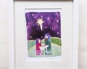 Night Divine Watercolor Nativity Art Print