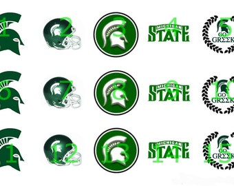 "1"" Bottle Cap Images-Michigan State"