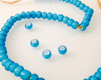 Blue African Trade Beads, Glass, 4-5 x 6-6.5 mm