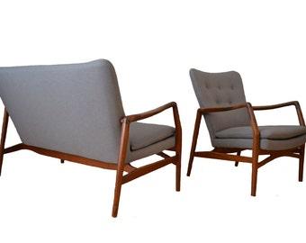Kurt Olsen Teak Sofa + Lounge Chair Denmark 1950