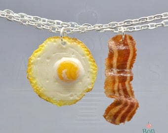 Bacon and Eggs Best Friends Necklace Set, Food Jewelry, Polymer Clay Food Necklace, Best Friend Gift, Miniature Food Charms